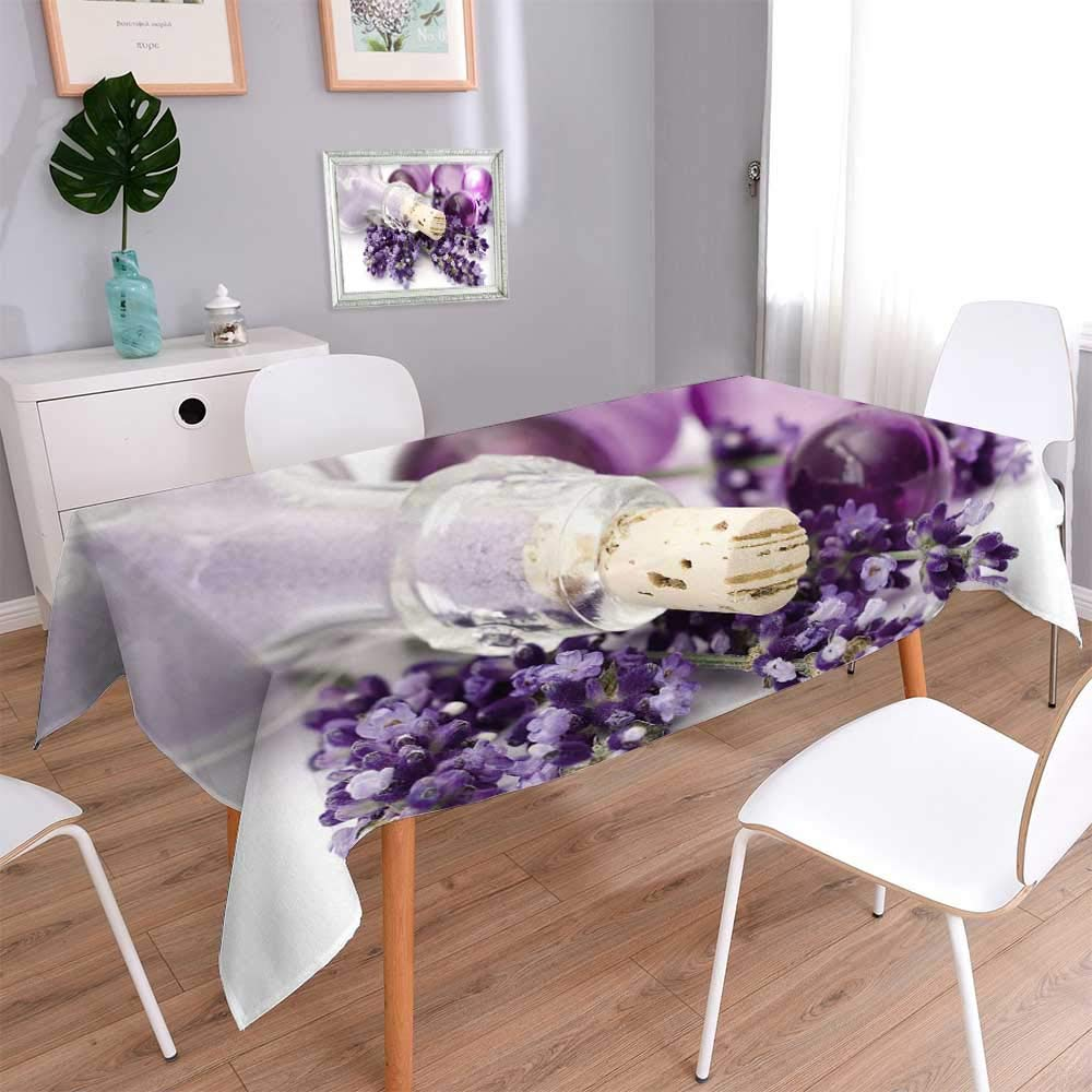 PINAFORE HOME Washable Cotton Linen Fabric Lavender spa Dining Room Kitchen Rectangular Table Cover/W54 x L102 Inch