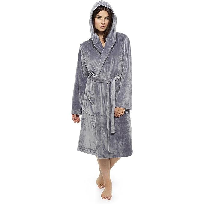 Wolf   Harte Ladies Luxury Moleskin Hooded Dressing Gown Robe   Amazon.co.uk  Clothing 5932eeaf3