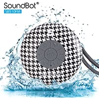 SoundBot SB510FM FM RADIO Water Resistant Bluetooth Wireless Shower Speaker with Built-in Mic, Detachable Suction Cup & Lanyard - Houndstooth