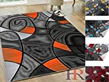 Handcraft Rugs - Electric Orange/Grey/Silver/Black/Abstract Area Rug Modern Contemporary Circles and Wave Design Pattern