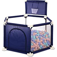 Baby Playpen Baby Safety Protection Fence Hexagonal Play yard Portable Children's Play pen Kids Activity Center Room with Basketball Hoop, for Youngers/Newborn/Toddler by FAIR-DEALS-UAE (BLUE)