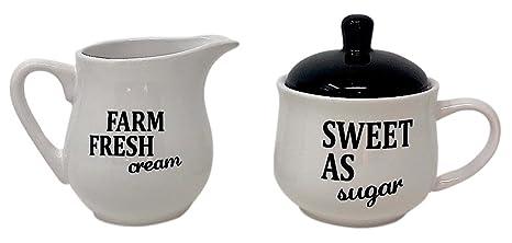Amazon com | Set of Sugar Bowl With Lid And Cream Server