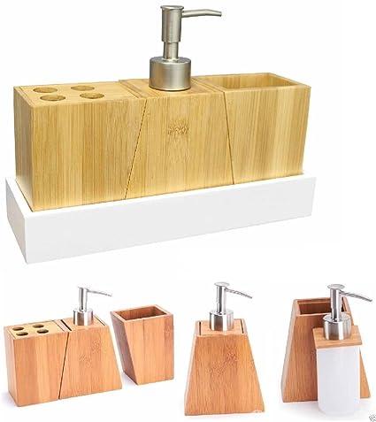 ponze Madera de Bambú Vaso de dispensador de jabón líquido, soporte para cepillo de dientes