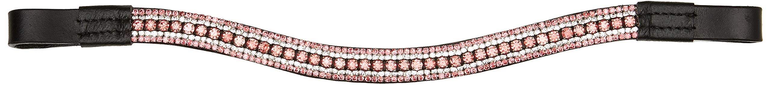 Cwell Equine Dressage Crystal Bling 5 Rows Crystal Browband Pink Crystal Rhinestones Sparkly Black (Pony 14'')