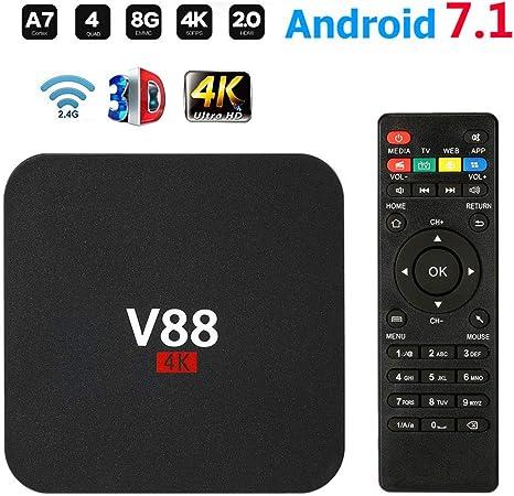 Meele V88 Android 7.1 TV Box RK3229 Quad Core Smart TV Box 1GB + 8GB HD WiFi Reproductor Decodificador Multimedia Cine en Casa 3D Entretenimiento de Juegos,Negro: Amazon.es: Hogar