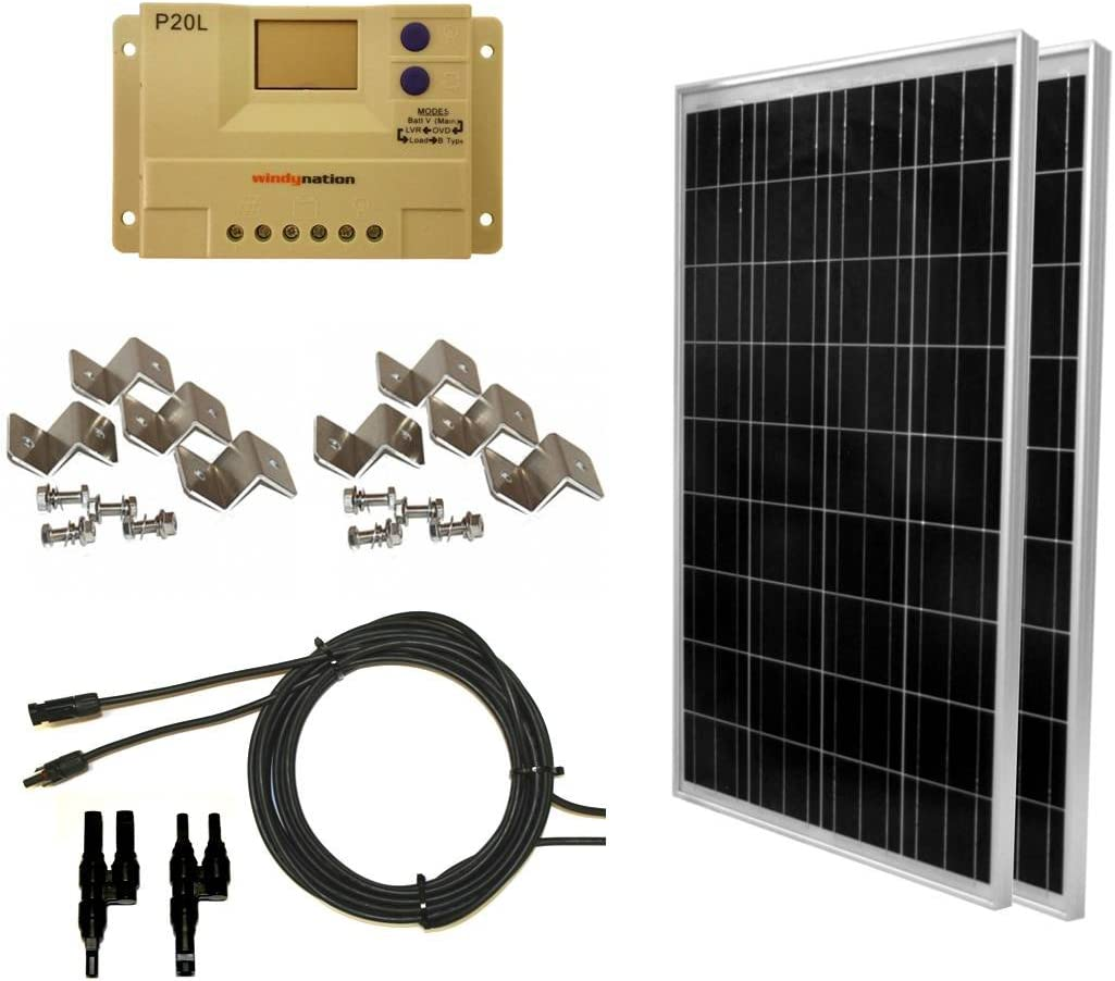 WindyNation 200 Watt 2pcs 100 Watt Solar Panel Complete Off-Grid RV Boat Kit with LCD PWM Charge Controller Solar Cable MC4 Connectors Mounting Brackets