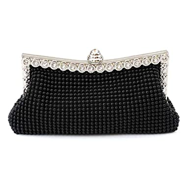 5715d3a17cea0 Womens Beautiful Sparkly Black Crystal Satin Evening Party Clutch Bag  Wedding Handbag for Ladies (Black)  Amazon.co.uk  Clothing