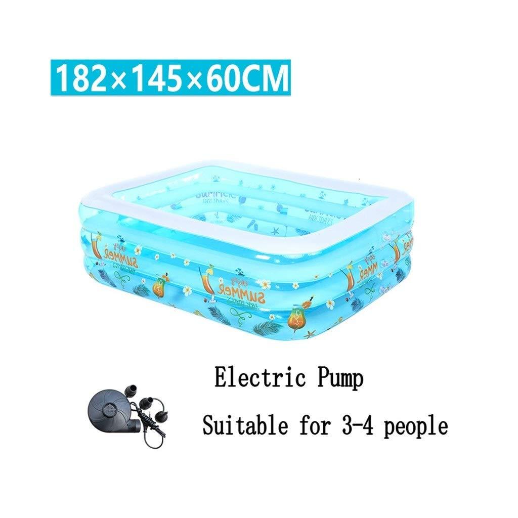 LXJYMX Aufblasbare Badewanne/Schwimmbad Schwimmbad für Kinder/Kleinkind / Familie Pool für 3 bis 4 Personen (182 * 145 * 60cm) - Tragbare Badewanne