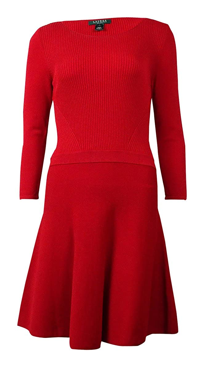 RALPH LAUREN Lauren Women's Ribbed A-Line Sweater Dress