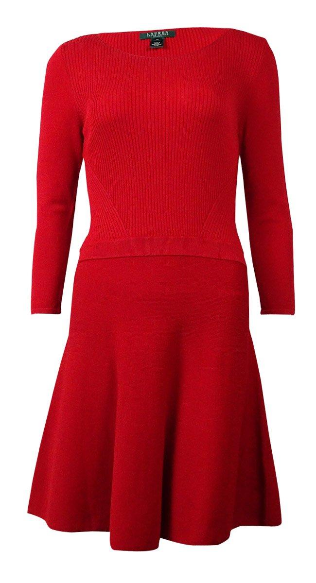 Lauren Ralph Lauren Womens Petites Long Sleeve Ribbed Knit Sweaterdress Red PXL