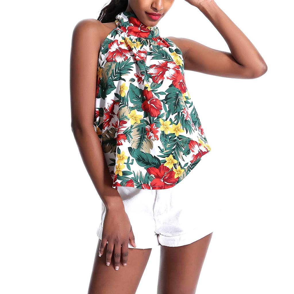 ZOMUSAR 2019 Women Halter Strapless Floral Print Sleeveless Casual Tops Blouse Vest Tank