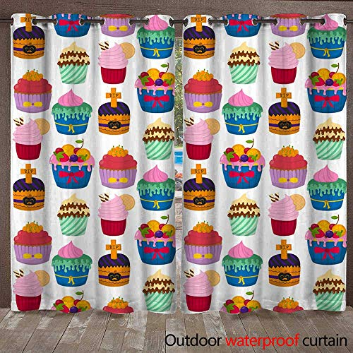 RenteriaDecor Outdoor Ultraviolet Protective Curtains Cute Vector Cupcakes and Muffins Chocolate Seamless Pattern Background Celebration Birthday Food Sweet Bakery Party Cute W72 x L108