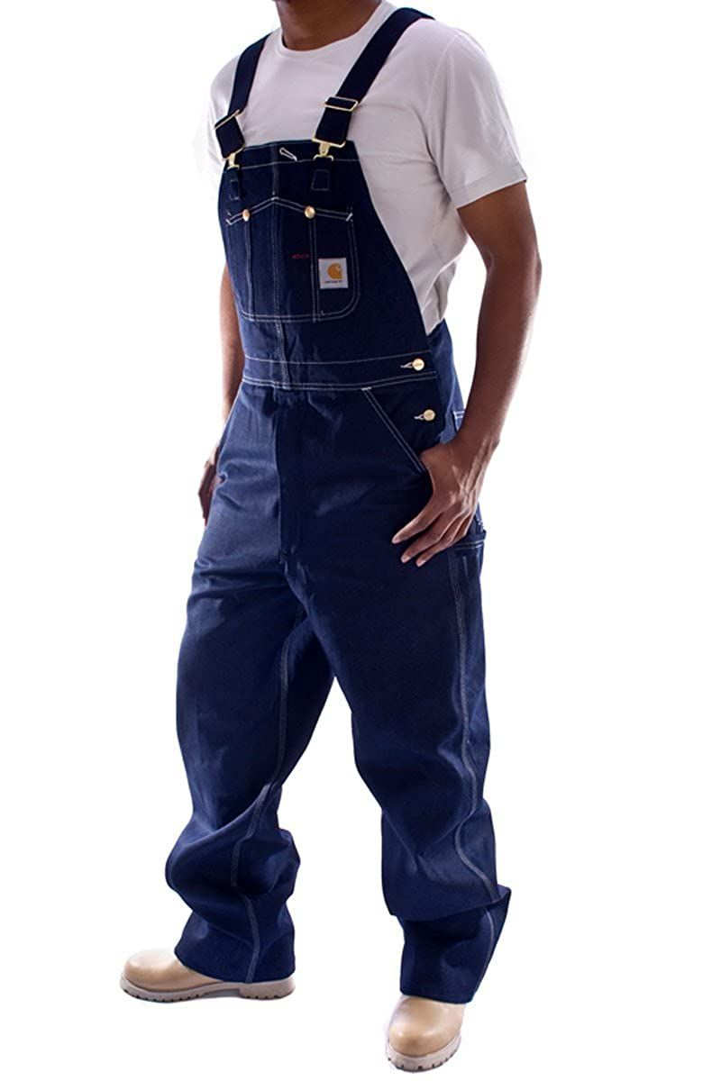 Carhartt - salopette da lavoro, colore blu jeans Denim - Indigo jeans - pantaloni salopette pettorina pantaloni alevros