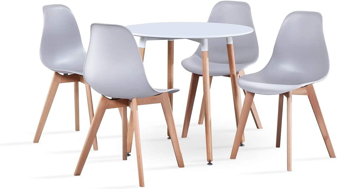 luckeu Set of 4 Modern Design Dining Chairs Retro Lounge Chairs With Solid Wood Oak Legs Office Kitchen Chairs Grey