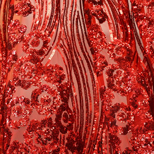 Red Luxury Wavy Floral Shinny Sequins Dress Fabric 54