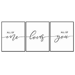 Set of 3, All of Me Loves All of You Print Quote, Bedroom Print Set, Minimalist Wall Art, Bedroom Poster, Above Bed Artwork, Home Decor,11x14inch Unframed