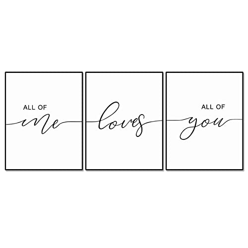Amazon Com Set Of 3 All Of Me Loves All Of You Print Quote Bedroom Print Set Minimalist Wall Art Bedroom Poster Above Bed Artwork Home Decor 11x14inch Unframed Handmade