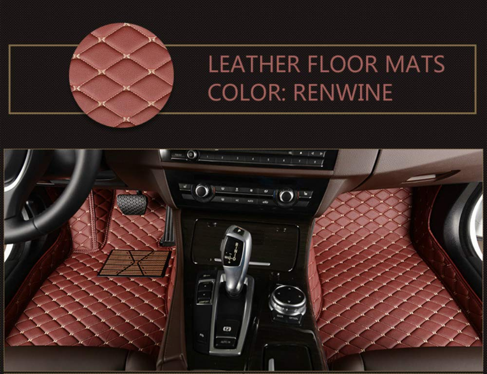 SureMart Custom Fit for 2014-2018 Tesla Model S Car Floor Mats Luxury XPE Leather Full Surrounded Protection Waterproof Anti-Slip Interior Liners Accessories Black with Red Stitching