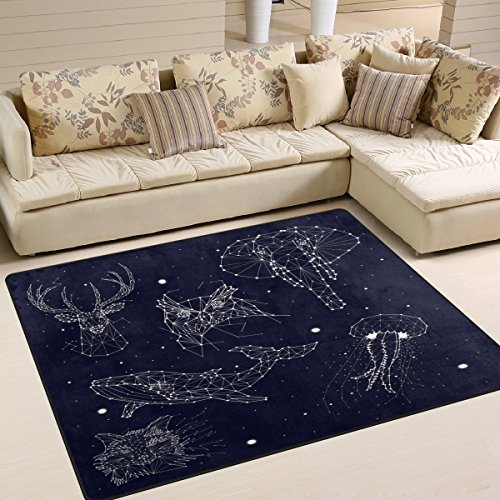 ALAZA Constellation Elephant Owl Deer Whale Star Area Rug Rugs for Living Room Bedroom 7' x 5'