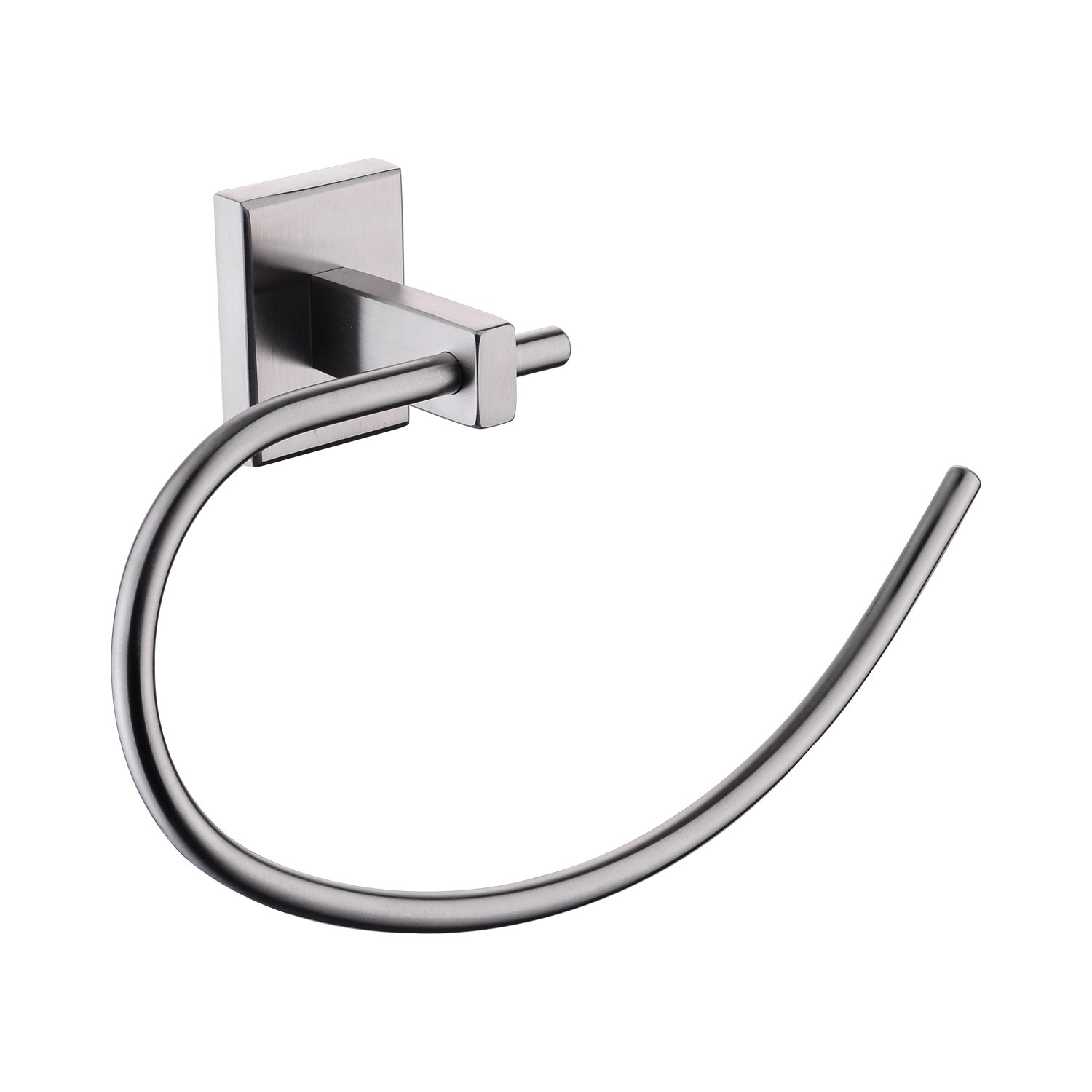 BULUXE SUS304 Stainless Steel Fashionable Bathroom Lavatory Towel Ring Wall Mount, Brushed Nickel