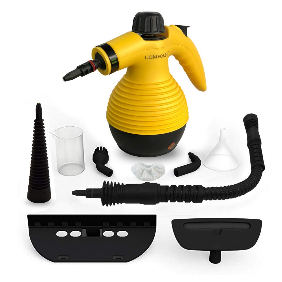 Comforday Surface & Much Multi-Purpose Handheld Pressurized Steam Cleaner with 9 Piece Accessories for Stain Removal, Carpets, Curtains, Car Seats, Kitchen Surface and Much More (Yellow) by Comforday