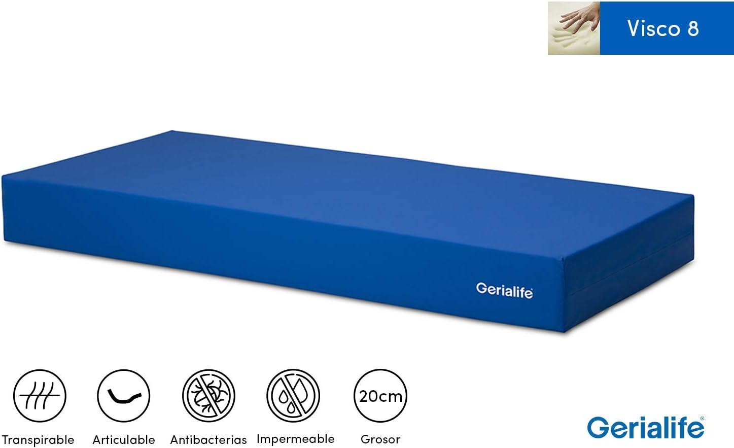 Gerialife® Colchón Geriátrico Hospitalario Articulado | 8 cm de Viscoelástica | Funda Sanitaria Impermeable (90x190)