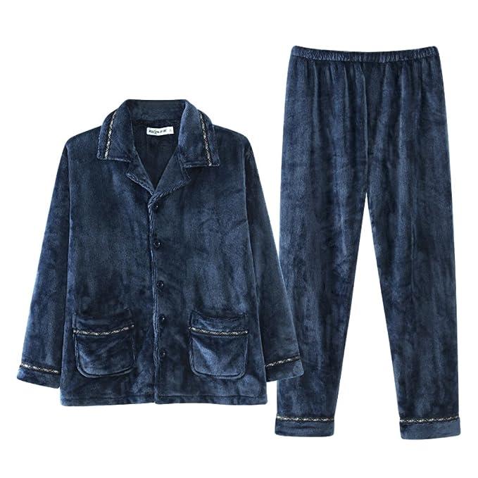 Conjunto de pijama de franela de los hombres,Espesar Ropa de dormir Set Código de