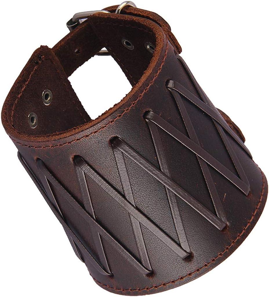25x7.4cm Leather Arm Bracers with Strap