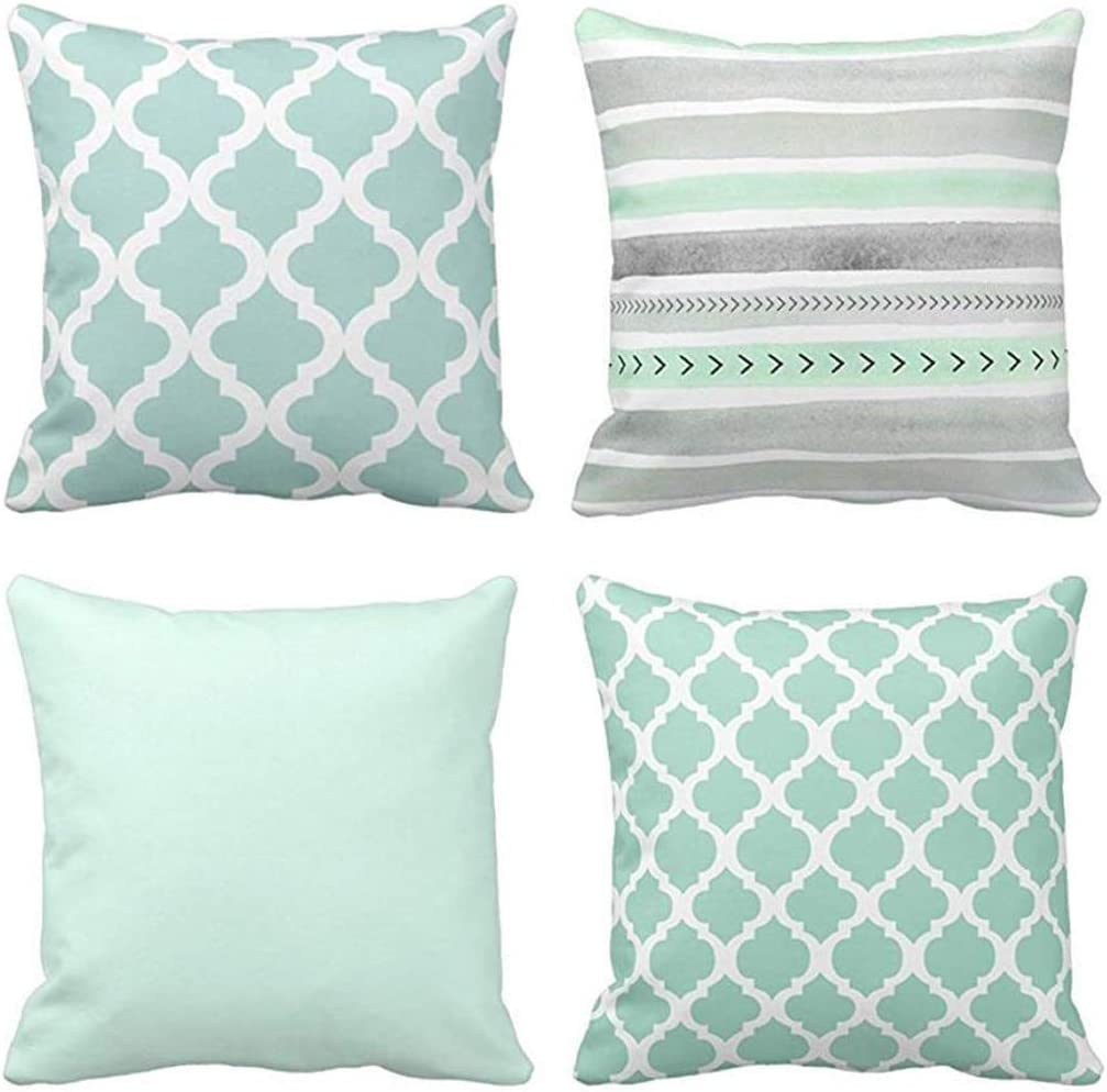Emvency Set of 4 Throw Pillow Covers Mint Moroccan Green Quatrefoil Gray Watercolour Stripes Arrows Generic Solid Decorative Pillow Cases Home Decor Square 16x16 Inches Pillowcases