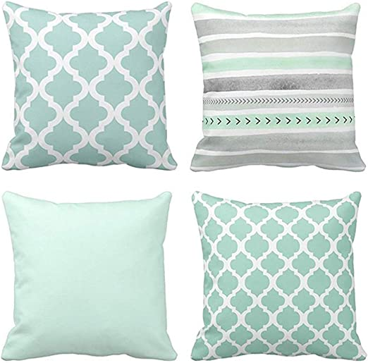 Emvency Set of 7 Throw Pillow Covers Mint Moroccan Green Quatrefoil Gray  Watercolour Stripes Arrows Generic Solid Decorative Bedroom Pillow Cases  Home