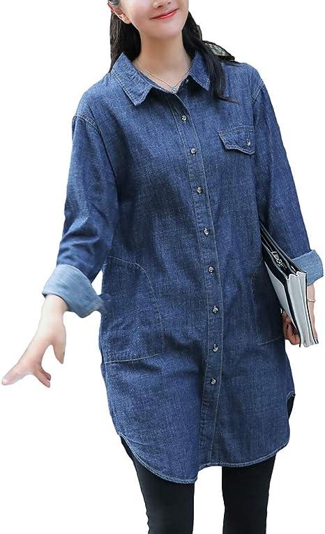 Hibote Vestido Camisero Azul Denim Vintage - Mujer Sexy Manga Larga Casual Tops Sueltos Blusa A-Line Mini Jean Vestidos: Amazon.es: Ropa y accesorios