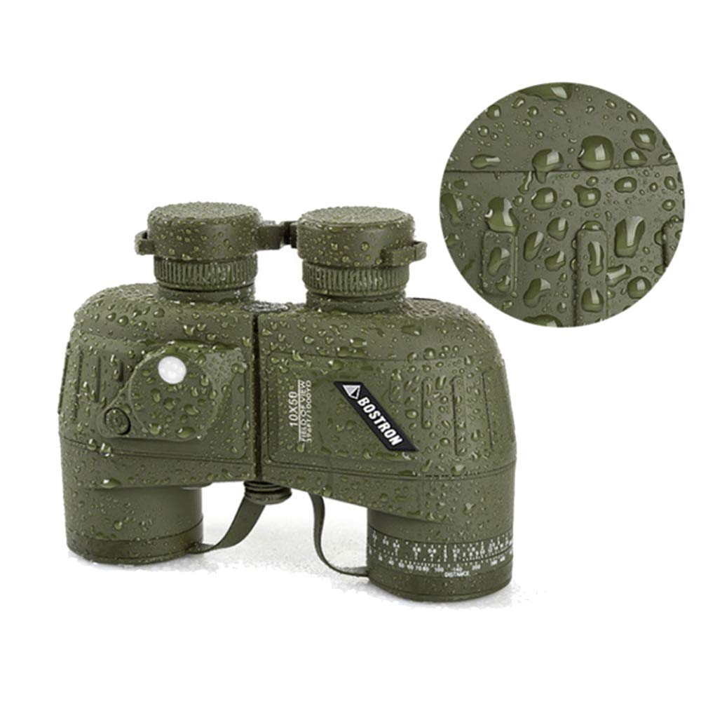 MIJNUX Full Covered Compass Military Binoculars 10X50 LLL Night Vision Stabilized Rangefinder Binoculars for Voyage Powerful Quality