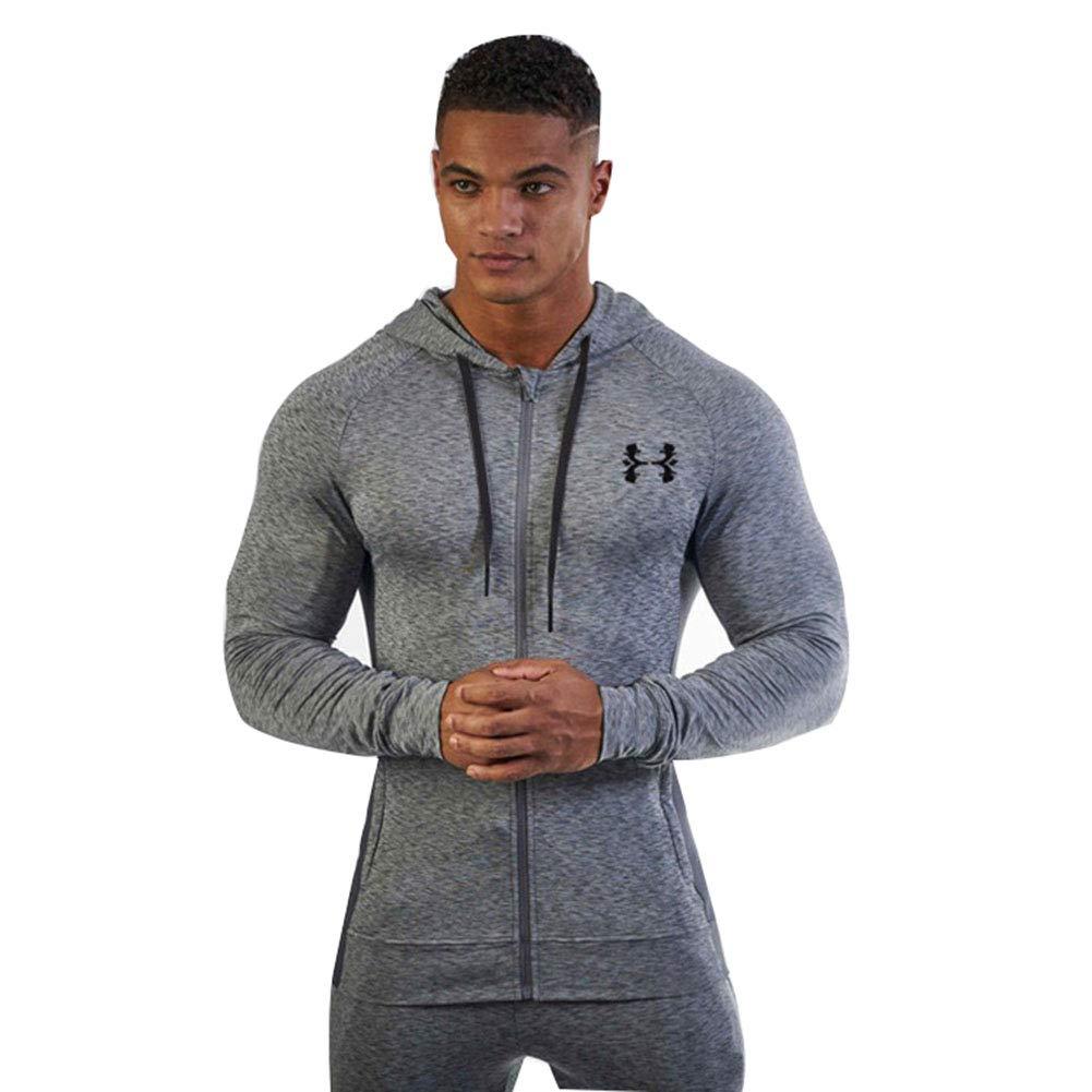 Sijux Herren Bodybuilding Langarm Slim Sweatshirts mit Active Zipper Hoodies Sportjacken, Laufbekleidung
