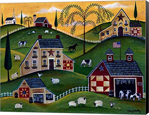 American Organic Herb Sheep Cow Farmland by Cheryl Bartley Canvas Art Wall Picture, Museum Wrapped with Black Sides, 28 x 22 inches ()