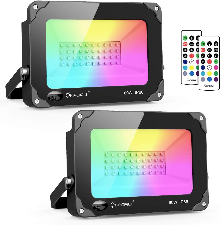 Onforu 60W Foco RGB Led (2 Pack), Foco Colores con Control Remoto, Foco led Interior de Cambio Color, Foco Led Exterior IP66 Impermeable con Temporizador, Función de Memoria para Fiesta Jardín Patio
