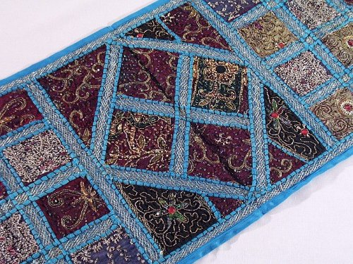 Blue Indian Kundan Beaded Wall Hanging Textile - Handmade Sari Patchwork Tapestry Table Runner ~ 60 Inch X 20 Inch