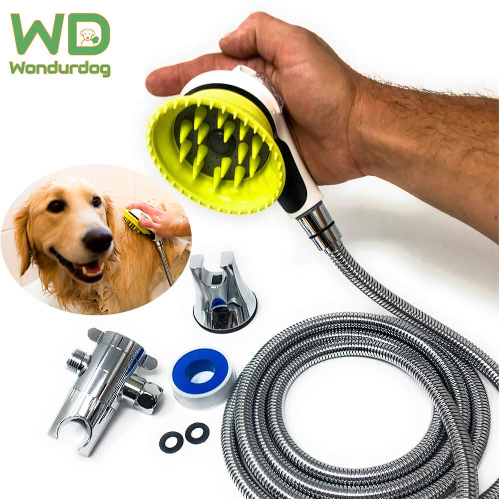 Wondurdog Quality Indoor Dog Shower Kit | Water Sprayer Brush & Rubber Shield | 8 ft Flexible Metal Hose, Shower Diverter, Suction Cup Holder | Shield Water from Dogs Ears, Eyes and Yourself! (White) by Wondurdog