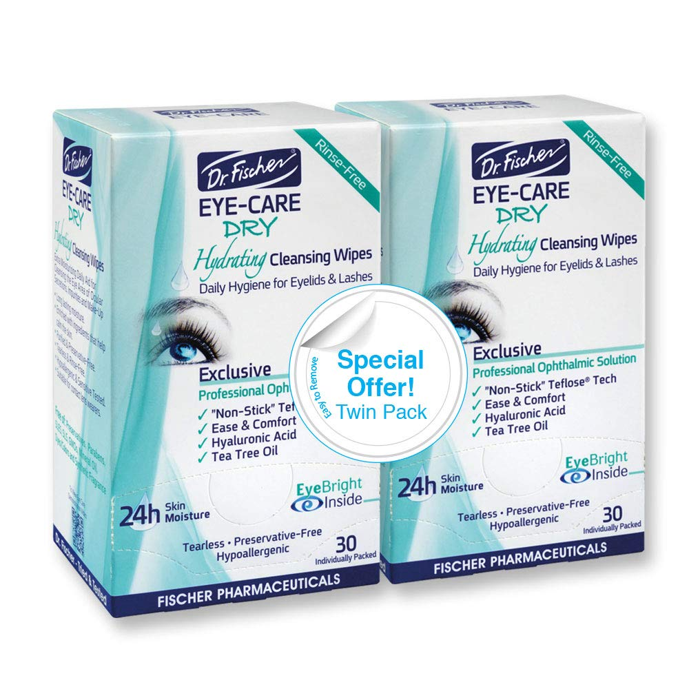 Dr. Fischer Eye Care Dry - Complementary aid for dry eye syndrome. Daily hydrating eyelid wipes to clean, soften & moisturize the eye area of ocular secretions and irritations (Twin Pack, 60 wipes)