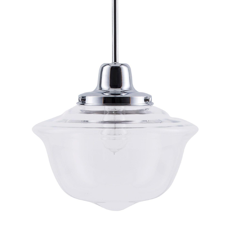 Lavagna LED Schoolhouse Pendant - Chrome w/Clear Glass Shade - Linea di Liara LL-P272-PC by Linea di Liara (Image #1)