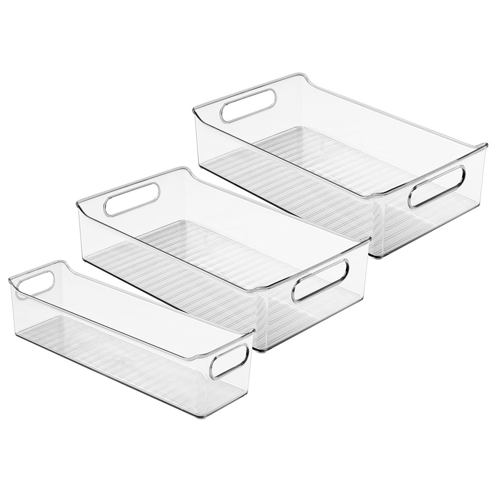 InterDesign Kitchen, Pantry, Refrigerator, Freezer Storage Containers and Can Organizer - Set of 3, Clear 00953C3