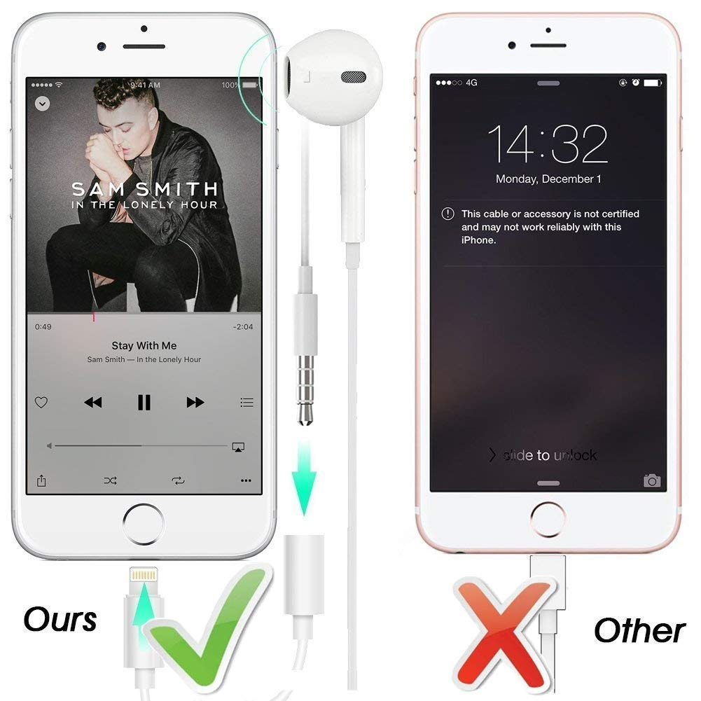 Lighting to 3.5mm Headphones//Earbuds Jack Adapter Aux Cable Earphones//Headsets Converter Accessories Support iOS 12//11-Upgraded Compatible with iPhone Xs MAX//XR//X//8//8 Plus//7//7 Plus//ipad//iPod 2 Pack