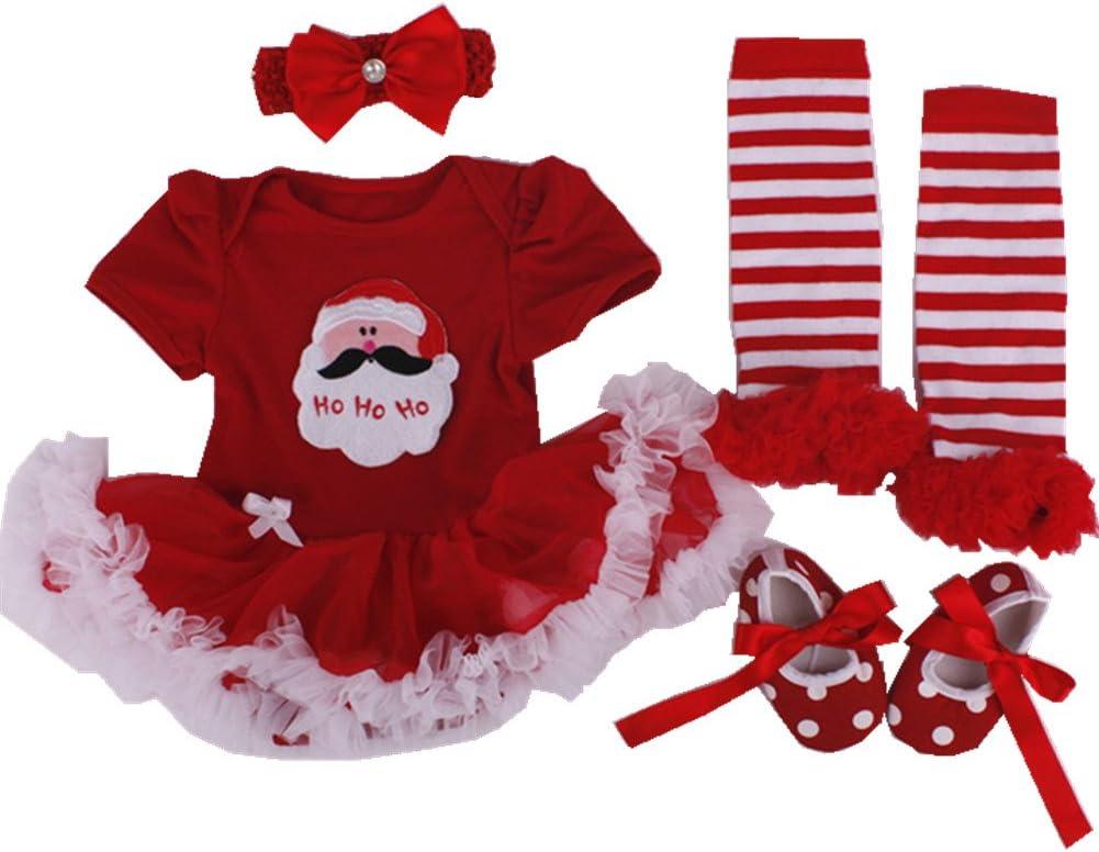 Anik Sunny Newborn Baby Girls Romper Dress Costume Clothes Jumpsuit 4Pcs Outfit Set Tutu Skirt Legging Warmer Shoes+Headband 0-3 Months, Pink Cakes