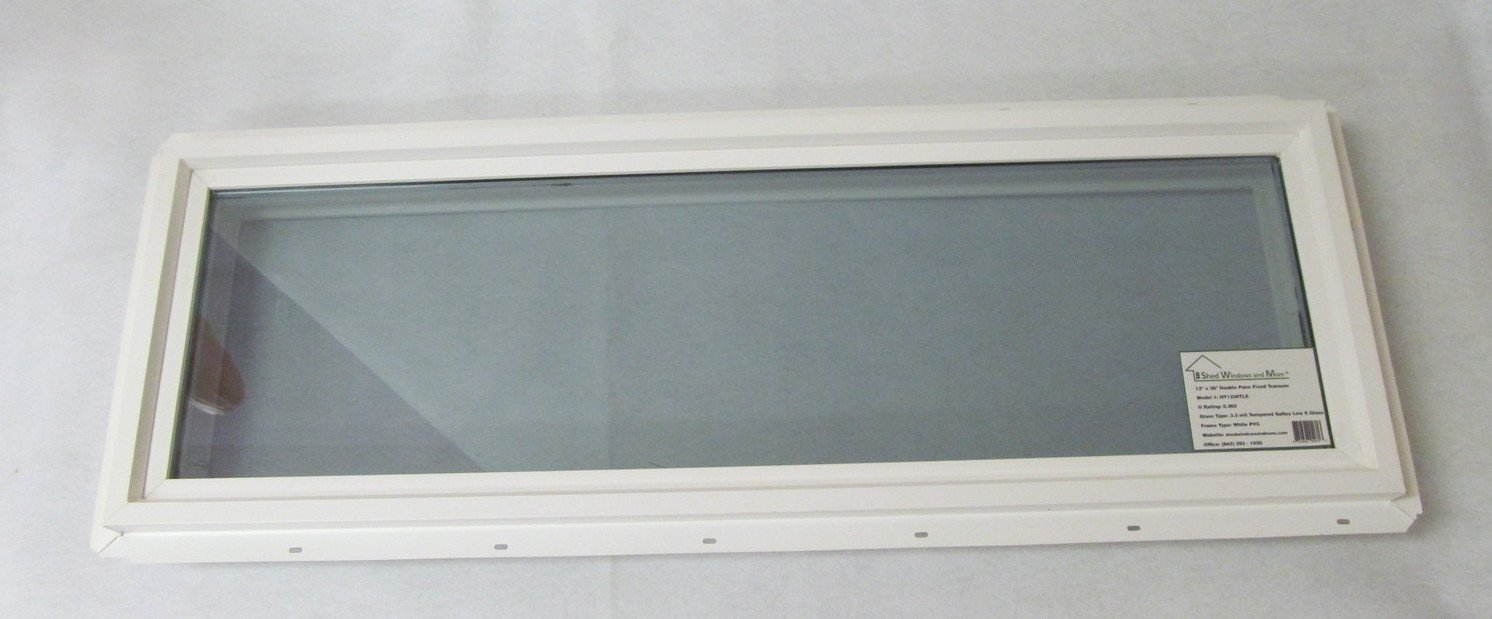 Transom Window 12'' x 36'' Double Pane Low E Tempered Glass