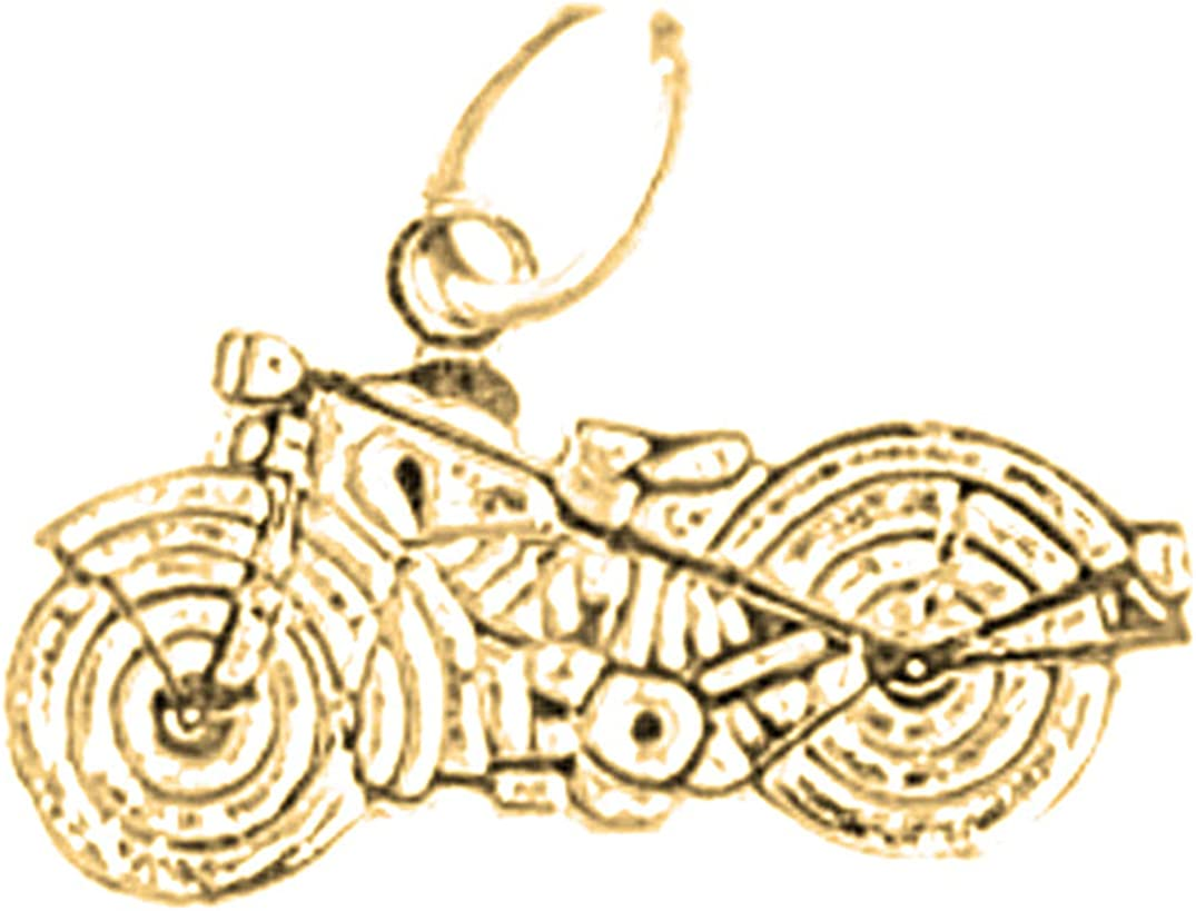 14K Yellow Gold-plated 925 Silver Motorcycle Pendant Jewels Obsession Silver Motorcycle Pendant