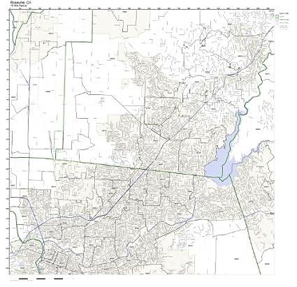 Roseville California Zip Code Map.Amazon Com Roseville Ca Zip Code Map Laminated Home Kitchen