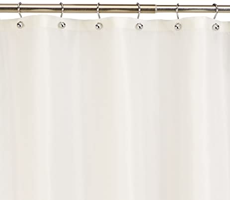 Exceptional White, Water Repellent Fabric Shower Curtain Liner By Carnation, 70u0026quot;  ...