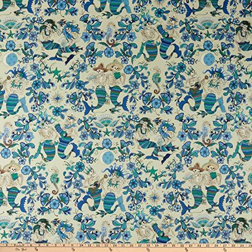 - Alexander Henry Fabrics Esqueletos del Mar Skeletons Light Blue Fabric by the Yard