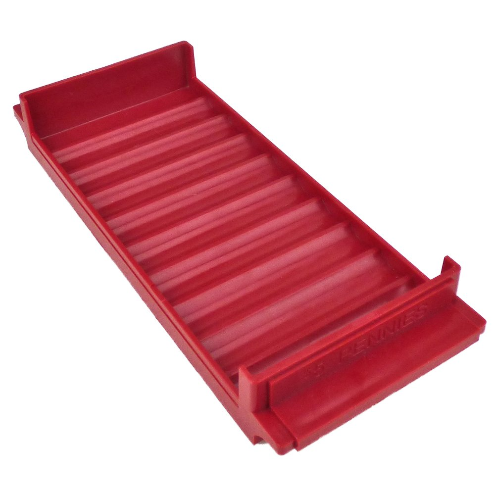 Rolled Coin Plastic Storage Tray, Pennies, Red (5 Trays) by Carousel Checks Inc.