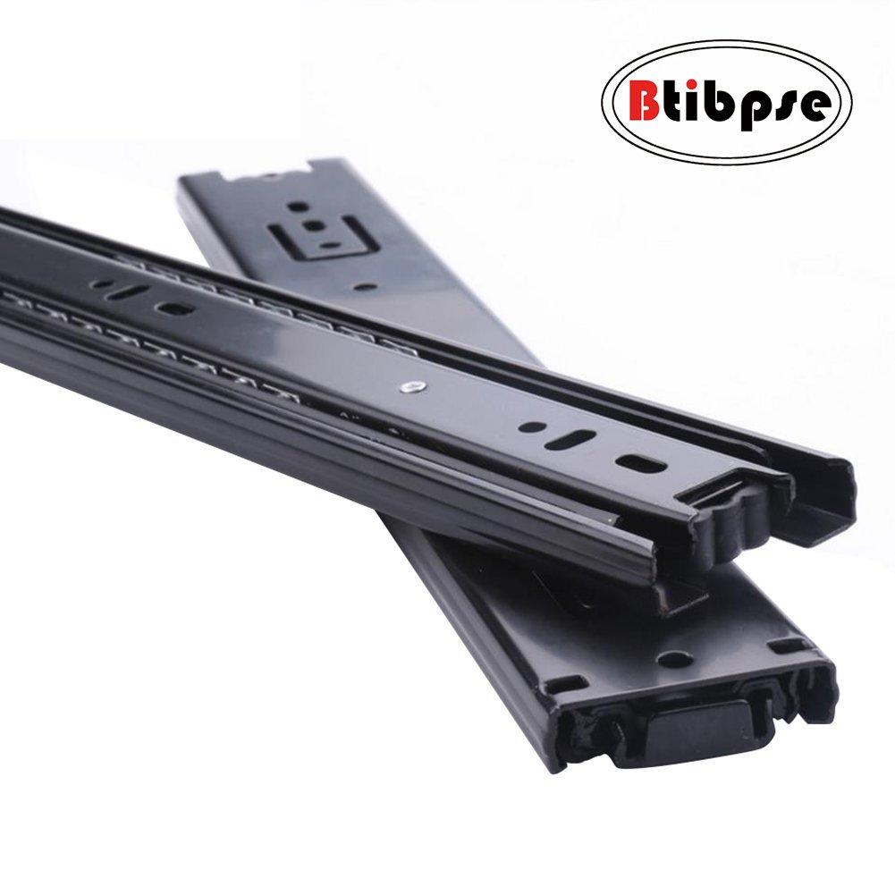 Btibpse 16-inch Length Full Extension Drawer Slides Telescopic Ball Bearing Slide Rail Black 2pcs
