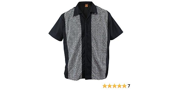 Camisa de bolos para hombre, diseño de cuadros, color negro